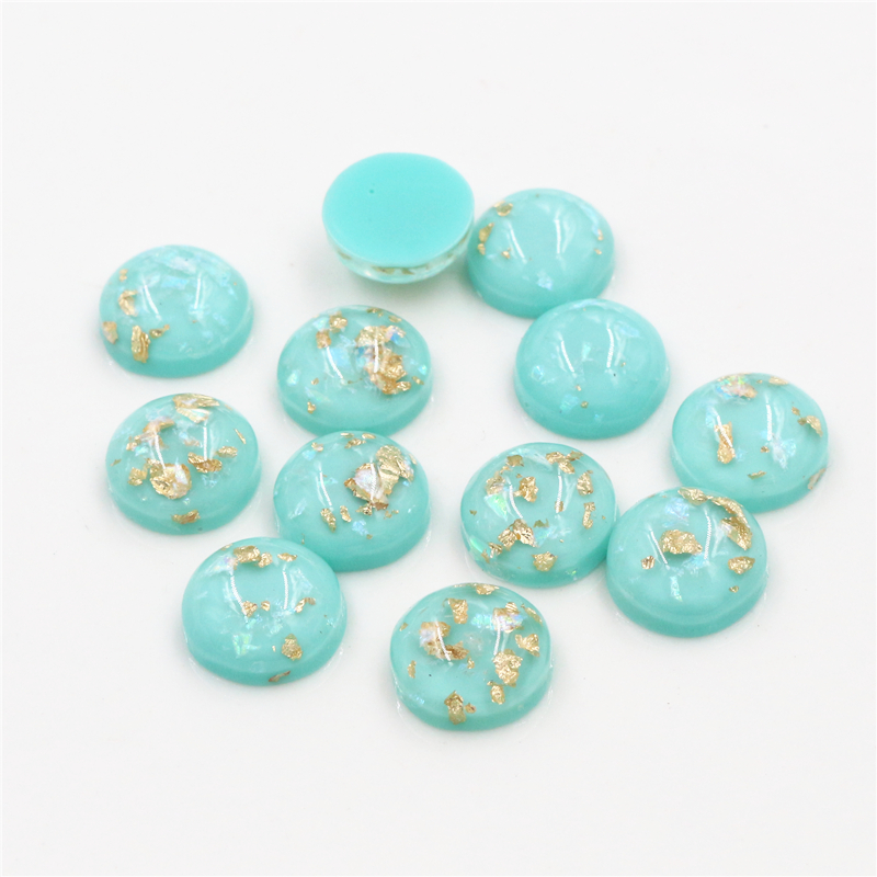 New Fashion 40pcs 12mm Light Apple Blue Colors Built-in Metal Foil Flat Back Resin Cabochons Cameo-Z6-17