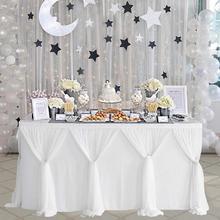 MeterMall falda de mesa de estilo a rayas para mesa rectangular redonda Baby Showers fiesta de cumpleaños boda decoración mesa falda mantel