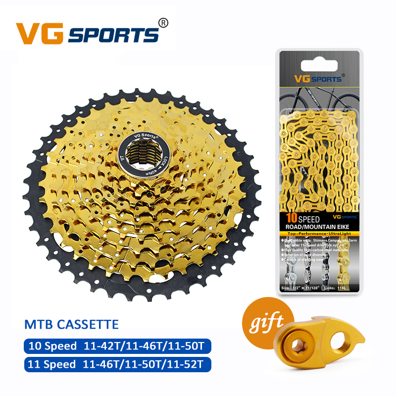 Mountain Bike MTB Bicycle Cassette <font><b>11</b></font> Speed Velocidade Parts Gold Freewheel Chain Set Sprocket <font><b>11</b></font>-<font><b>46T</b></font> <font><b>11</b></font>-52T image