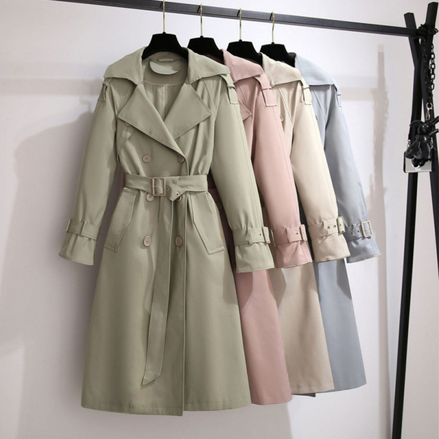 Lady trench jacket 2020 new Women long Section Solid Coat Windbreaker Casual turn down collar slim Autumn coat