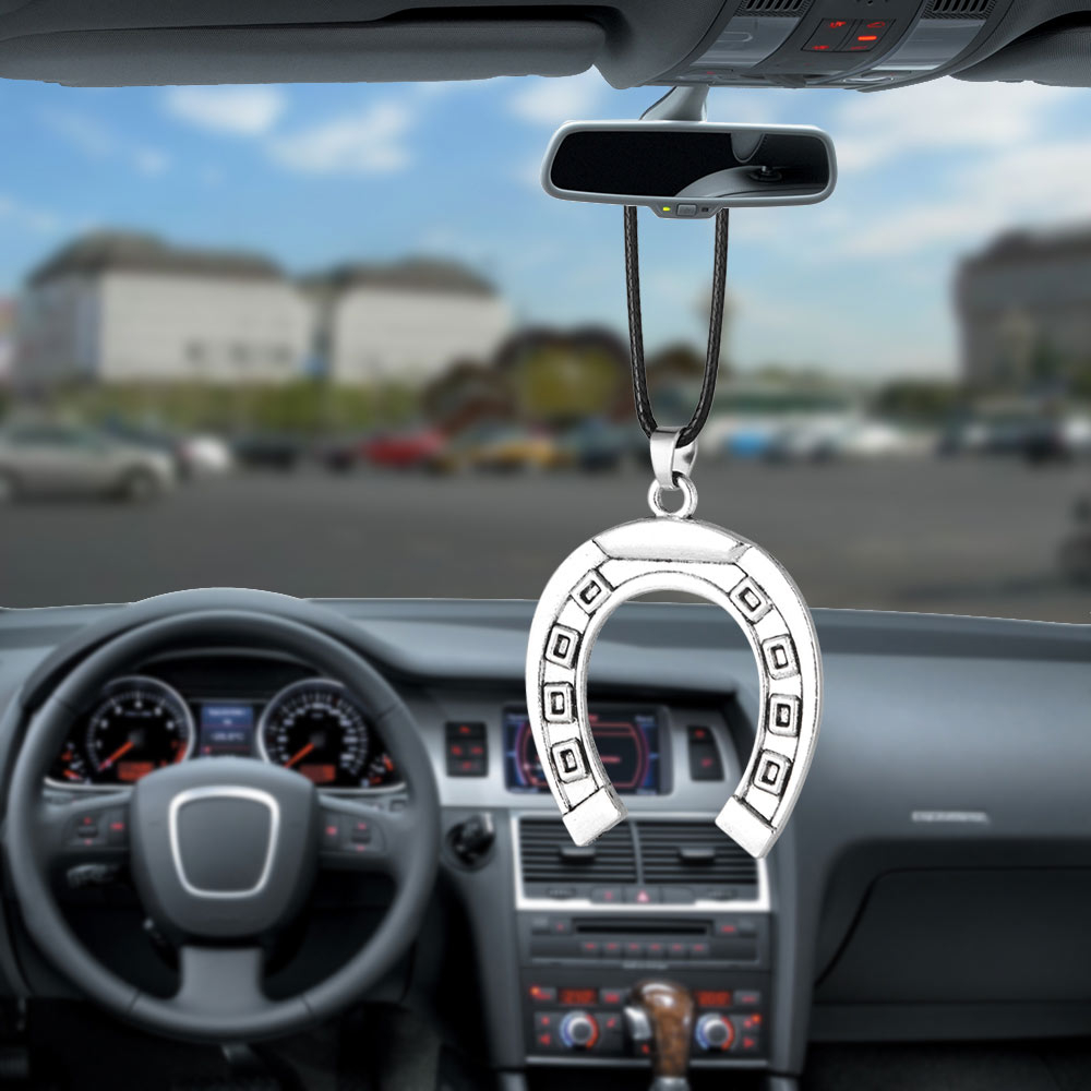 Car Pendant Car Ornament Horseshoe Ornaments Rearview Mirror Decoration Lucky Gift For Famliy Metal Auto Accessories