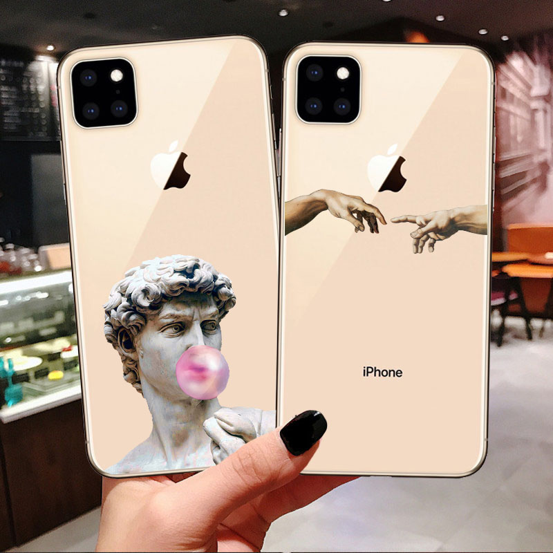 Art Fresco Michelangelo Creation of Adam For iPhone 11 Pro Max 2019 Case Soft TPU Cover for iPhone 5S 6s 7 8 Plus Xs XR XS MAX X