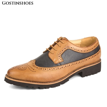 Cowhide Brogue Carved Shoe Casual Buty Meskie Pointed Toe Joint Fashion Buty Meskie фото