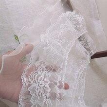 14CM wide new embroidery flower tulle lace fabric border ribbon DIY sewing lace applique collar tassel wedding decoration кружево для шитья diy lace garden 7 14cm lt048 diy embroiered