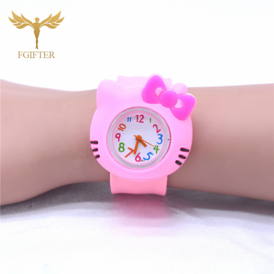 Pink Plastic Watches For Girls Kids Child Toys Slap Watch Bow Kitty Clock Bauble