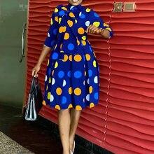 Las mujeres vestido Polka Dot una línea falda de cintura alta, Mangas de tres cuartos moda mujer elegante Oficina túnicas de Damas