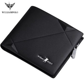 WilliamPolo Short Wallet Mens Slim Credit Card Holder Bifold Genuine Leather Multi Card Case Cowhide Ultra-Thin Zipper Wallet williampolo 2019 men wallet short bifold credit card holder genuine leather organizer slim multi card case business casual purse