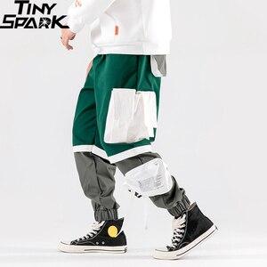 Image 2 - Calças de carga hip hip dos homens multi bolsos 2020 harajuku pant corredores baggy bloco cor retalhos sweatpant streetwear calças pista