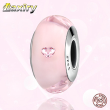 Jewelry DIY 925 Sterling Silver Fit Pandora Charms Silver 925 Original Bracelets Charm Beads Pink Murano Glass Bead For Women mistletoe jewelry 925 sterling silver large hole light blue 3d flowers murano glass charm bead fit european bracelet