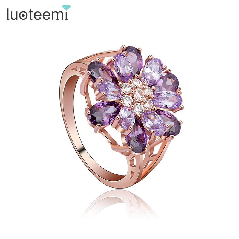 LUOTEEMI  Wholesale Fashion Jewelry Unique Flower Design With Purple Cubic Zirconia Paved Bling Finger Rings For Young Lady