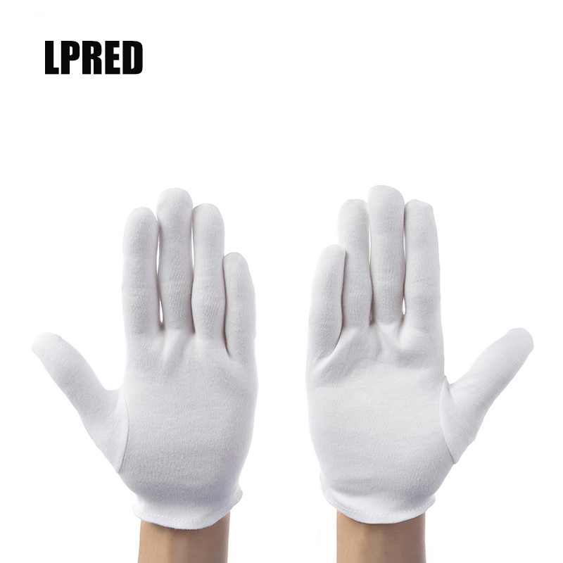 12 Pairs/lot White 100% Cotton Ceremonial Gloves For Male Female Serving / Waiters/drivers/Jewelry Gloves