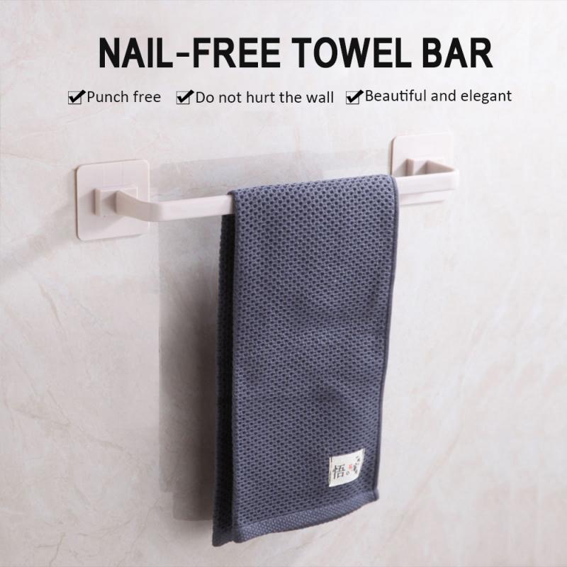 Plastic Towel Rack Hanger Bathroom Towel Clothing  Storage Holder Wall-mounted Towel Bars Self-adhesive Storage Shelves Hot Sale