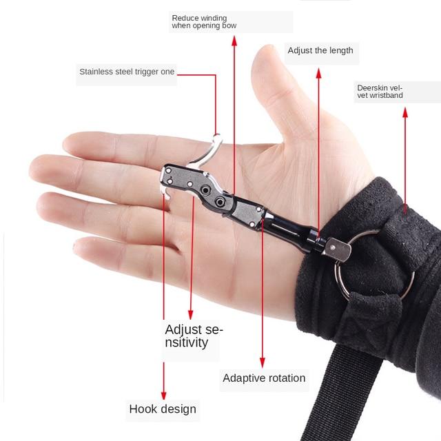 Elong Outdoor Black Color Archery Caliper Release Aid Compound Bow Strap Shooting Pro Arrow Trigger Wristband 1