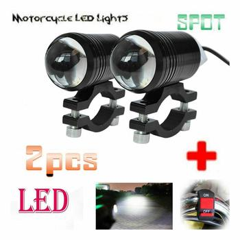 Newest 2pcs Bright Motorcycle Fog Lights LED Headlight Driving Spot Work Lamp Motorbike Fog Head Light Lamp with Switch 6 5inch universal retro motorcycle modification led headlight lamp with guard cover yellow driving light gn125 250