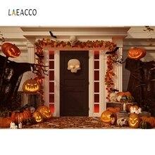 Laeacco Vinyl Fotografie Hintergründe Halloween Kulissen Horrible Nacht Party Kürbis Licht Schädel Geist Photophone Foto Studio
