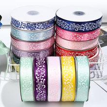 50 Yards/Roll Colorful Flower Printing Decor Silk Ribbons Grosgrain For DIY Hair Bows Handmade Crafts Gifts Wrapping Accessories(China)