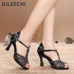 Image 4 - Dileechi sapatos de dança latina, mulheres sapatos de dança festa cetim malha brilhante strass salsa sandálias de dança 9cm