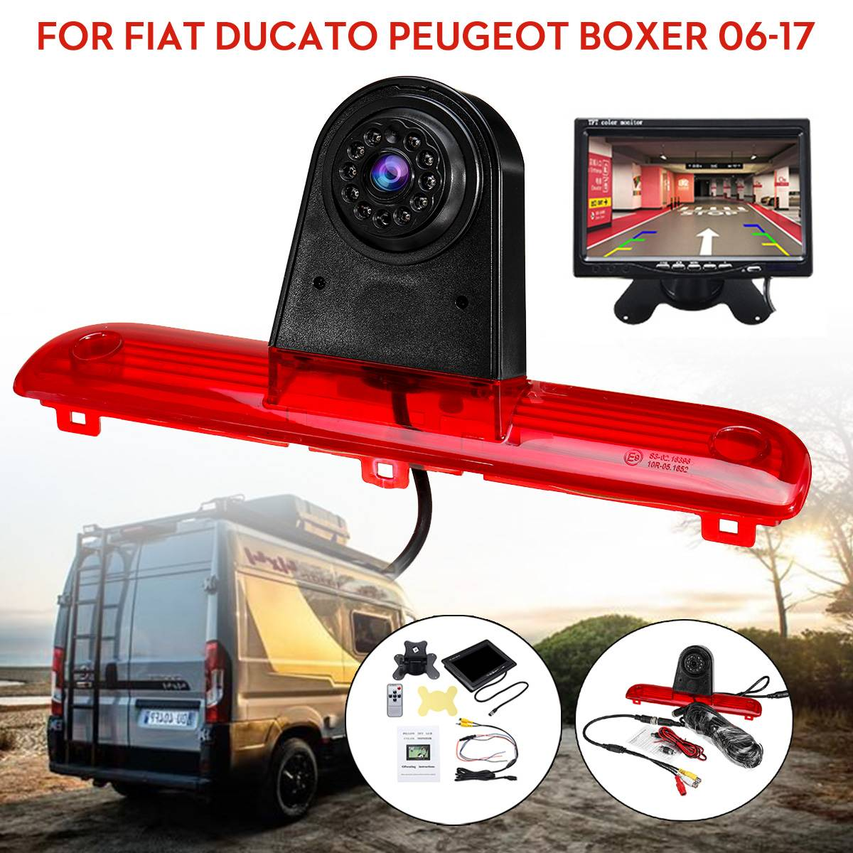 CCD HD Car Rear View Camera Reserve Backup Parking Coms PAL Brake Light Night Vision For Fiat Ducato Peugeot Boxer 2006-2017