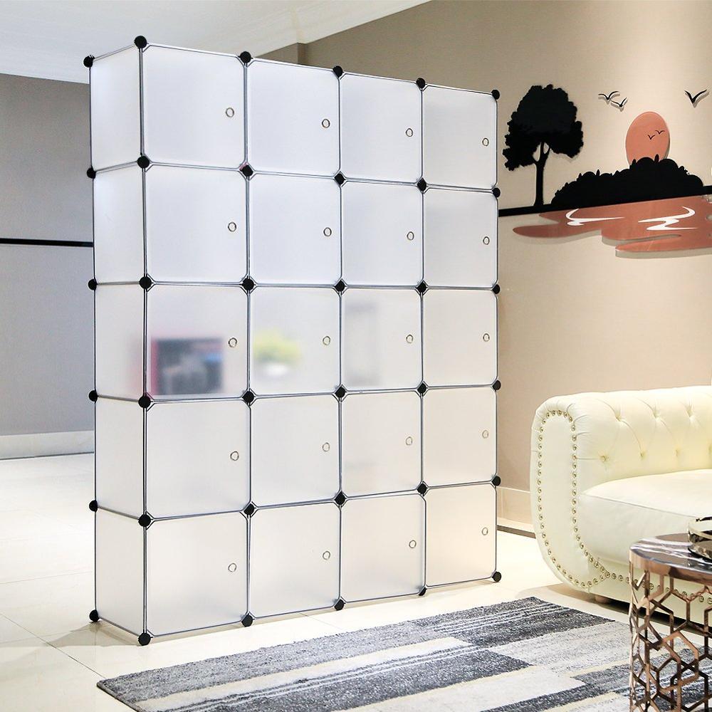 Chambre en plastique armoire armoire Cube organisateur de rangement Portable vêtements Cabine de rangement tissu placard meubles de maison C04