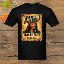 One Piece Wanted T Shirt Pirate Caribbean Jack Sparrow T-Shirt Men Tshirt Mans Clothing Tees Hip Hop Top Vintage Funny(China)