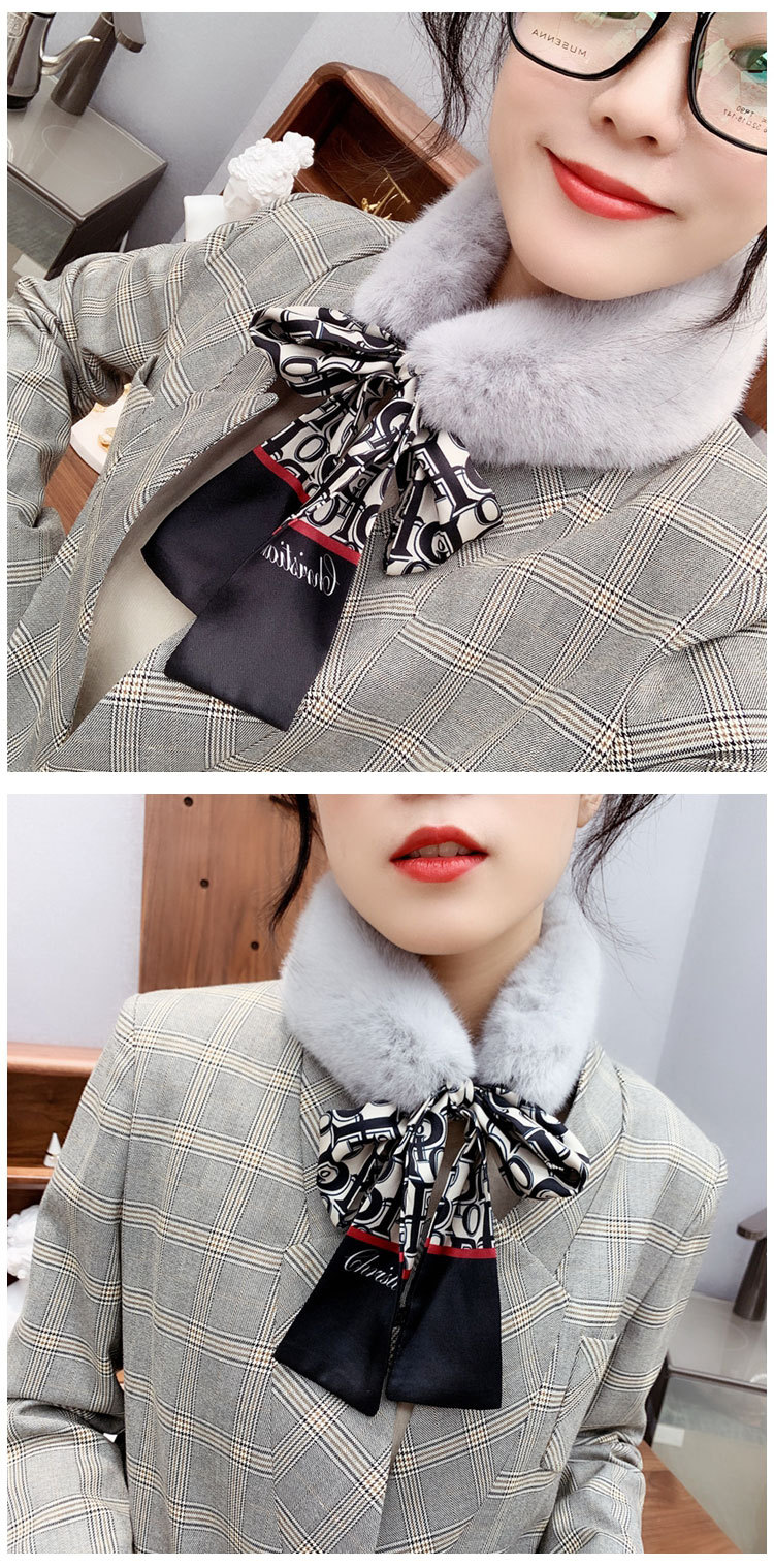 Hed7c38996050409db624a5a494b4c870T - New Long Skinny Silk Letter Leopard Printed Hair Head Scarf with Winter Warm Faux Fur Neck Collar Scarves for Women Foulard