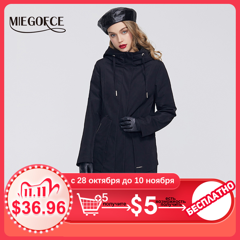 MIEGOFCE 2020 Spring New Collection Women Windbreaker with Cold overcoat with Resistant Coat and Hood Casual for Fashionistas|Trench| - AliExpress