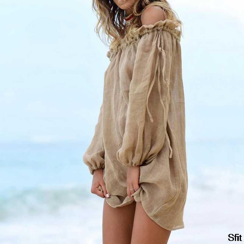 SFIT 2020 algodón Vestido de playa cubierta de moda de natación cubre-ups de manga larga de playa de hombro bikini mujeres cubrir túnica nuevo