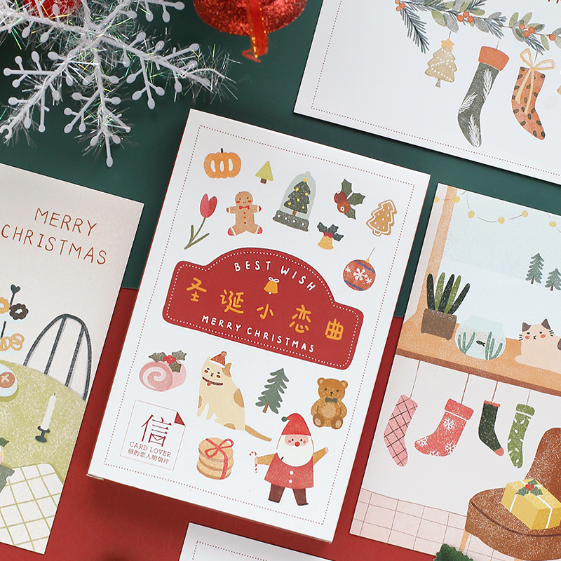 30 Pcs/Set Merry Christmas Postcard Best Wish Cartoon Greeting Cards Message Card Xmas And New Year Gift