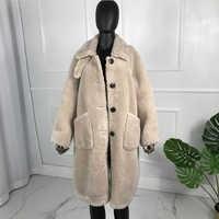 Largo nuevo estilo invierno moda oso de peluche abrigo de lana chaqueta de abrigo de piel de cordero de esquilar compuesto abrigo Botón de gran tamaño giro- abajo