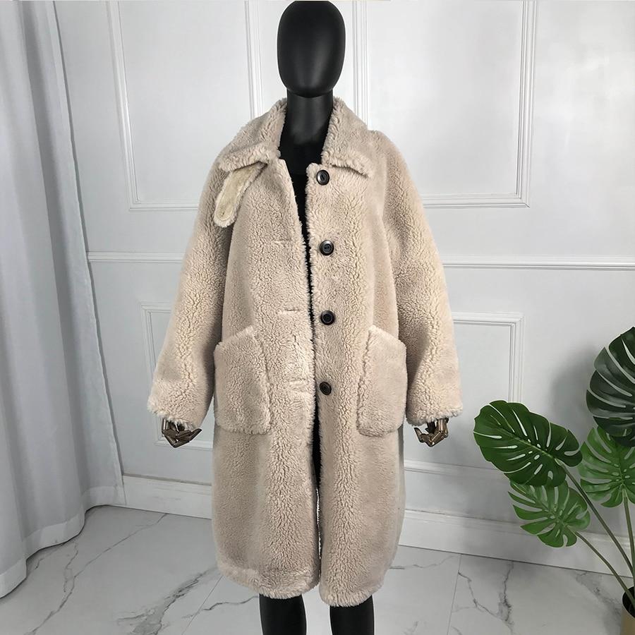 Longo novo estilo de moda de inverno urso de pelúcia casaco de lã do revestimento do revestimento Composto botão Casaco de Peles De Cordeiro Shearling enorme turn- para baixo