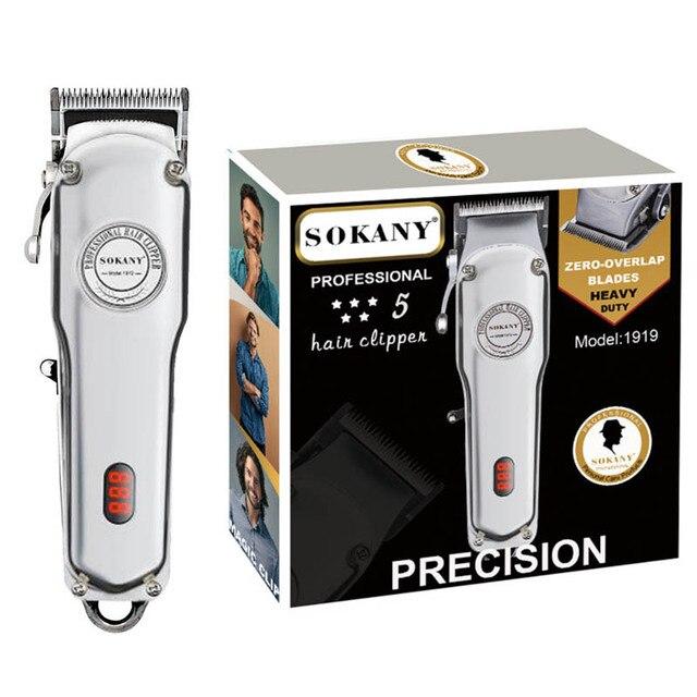 جميع المعادن مقص الشعر الحلاق المهنية قوية صالون برو الكهربائية آلة قطع الشعر قابل للتعديل قص الشعر قابلة للشحن