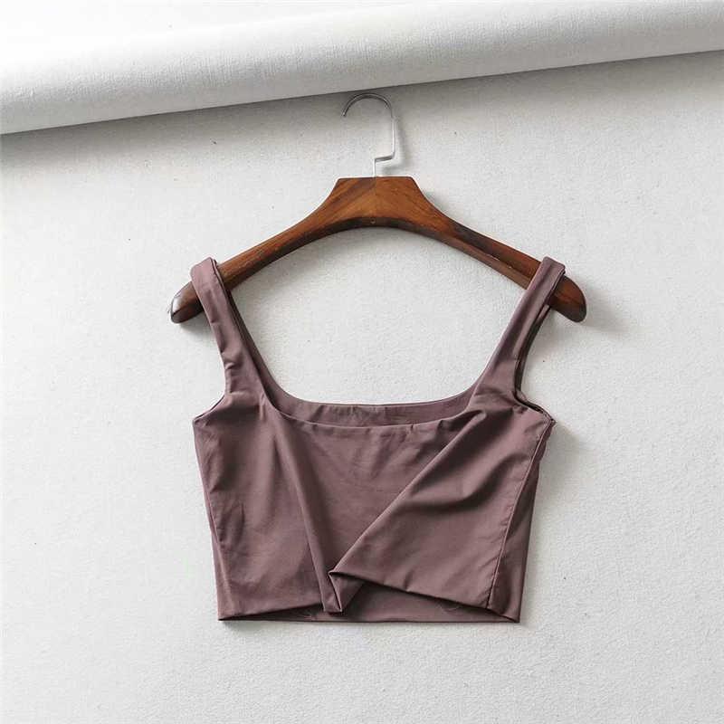 Hot Koop 2020 Zomer Vrouwen Sexy Mouwloze Tops Mode Korte Vierkante Kraag Tank Tops 4 Kleuren
