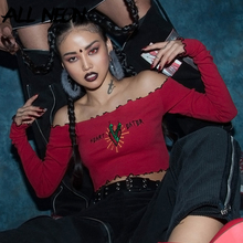 ALLNeon Gothic Off Shoulder T-shirts Solid Embroidery Front Long Sleeve Ruffle Hem Crop Tops Fashion Spring E girl Tees Punk