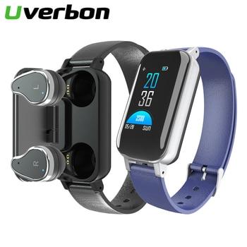 2019 New T89 TWS Smart Binaural Bluetooth Headphone Fitness Bracelet Heart Rate Monitor Smart Wristband Sports Smartwatch