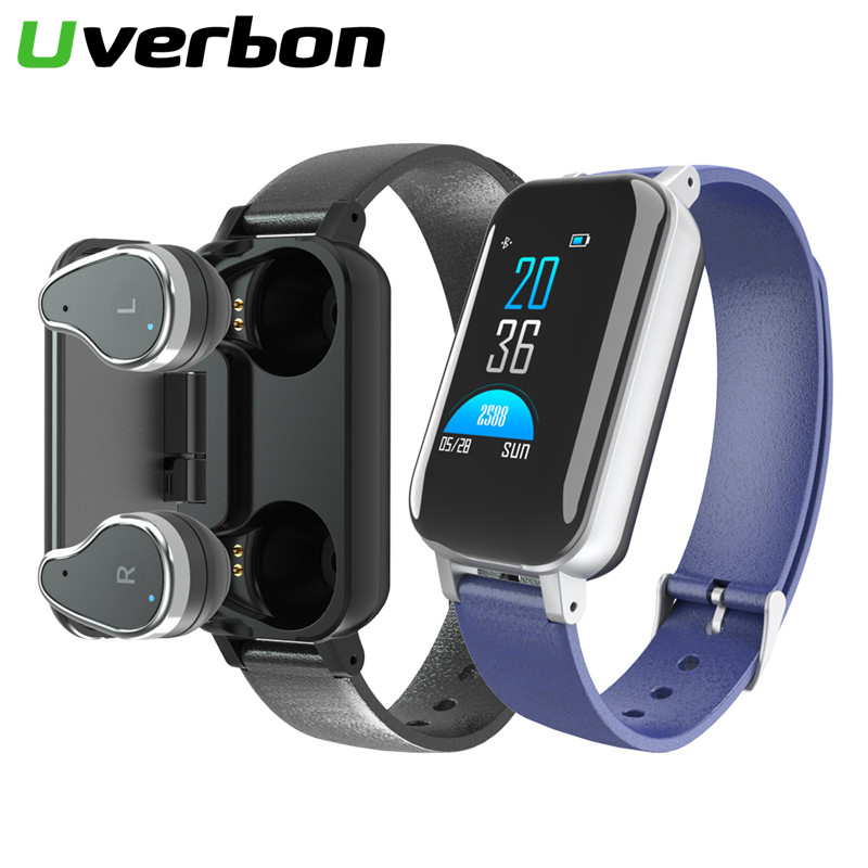 2019 New <font><b>T89</b></font> <font><b>TWS</b></font> Smart Binaural Bluetooth Headphone Fitness Bracelet Heart Rate Monitor Smart Wristband Sports Smartwatch image