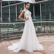 цена на Dressv high neck wedding dress elegant cap sleeves appliques lace a line floor length ourdoor&church wedding dresses custom