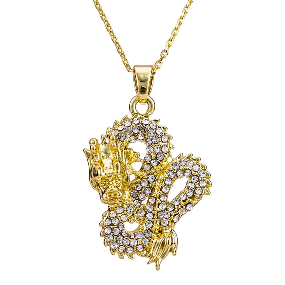 Gold Color Dragon Pendant with Zircon Inlay Necklace for Women Men Wedding Birthday Gifts