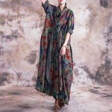 Johnature בציר 2019 סתיו נשים בגדים חדש V צוואר ארוך שרוול בתוספת גודל שמלות פרחוני הדפסת כיסים ארוך נשים שמלה