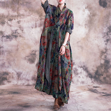 Johnature ヴィンテージ 2019 秋の女性服新 v ネック長袖プラスサイズのドレス花柄ポケットロング女性ドレス