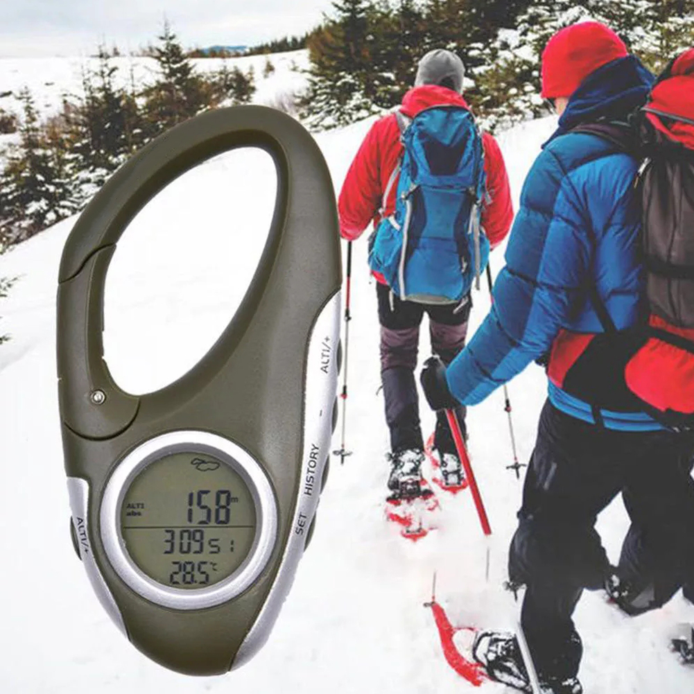 Electronic Altimeter Carabiner Altitude Meter Handheld Thermometer Outdoor Accessories Fishing Weather Forecasting Mode Meter