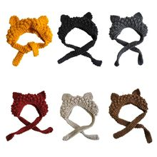 Adult Children Chunky Crochet Braided Knit Winter Hat Cute Cat Ears Solid Color Earflap Warm Beanie Cap Photography Props