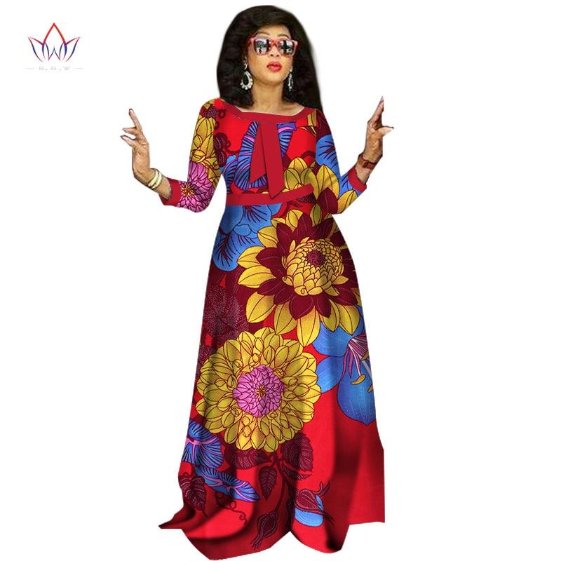 Robes africaines pour femmes Design de mode Dashiki femmes Bazin Riche col rond longue robe cheville-longueur grande taille naturel 6xl WY1236