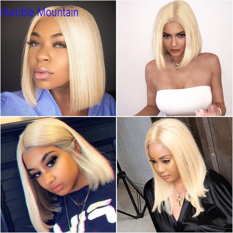 613 Honey Blonde 13X6 Deep Part Transparent Lace Front Human Hair Wigs Straight Brazilian Short Bob Ombre Frontal Wig