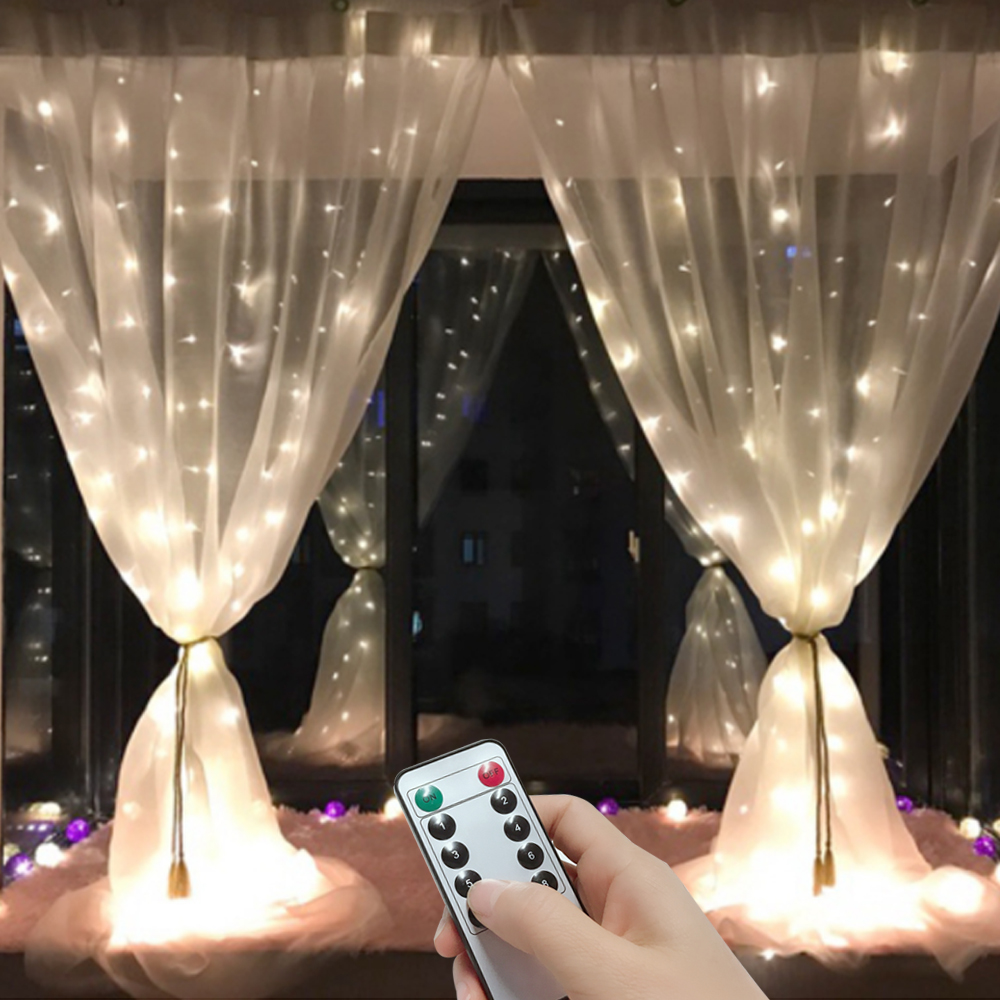 3m 6m Remote LED Curtain Fairy Lights String Christmas Led Patio Party Wedding Window Decor Outdoor String Lights For New Year