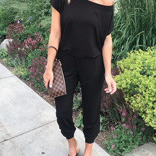 Plus Size S-3XL Summer Sexy Off Shoulder Short Sleeve Jumpsuits Solid Casual Slim Overalls For Women