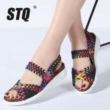 STQ 2020 נשים סנדלים שטוחים נעלי נשים ארוג טריז סנדלי גבירותיי חוף קיץ עקב פתוח סנדלי כפכפי נעלי גומי 803
