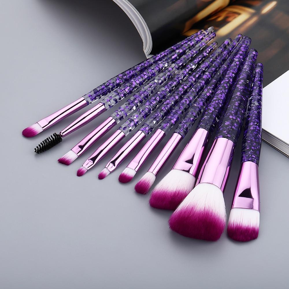 FLD Transparent Makeup Brushes Tool Set Transparent Cosmetic Powder Eye Shadow Foundation Blush Blending Beauty Make Up Brush