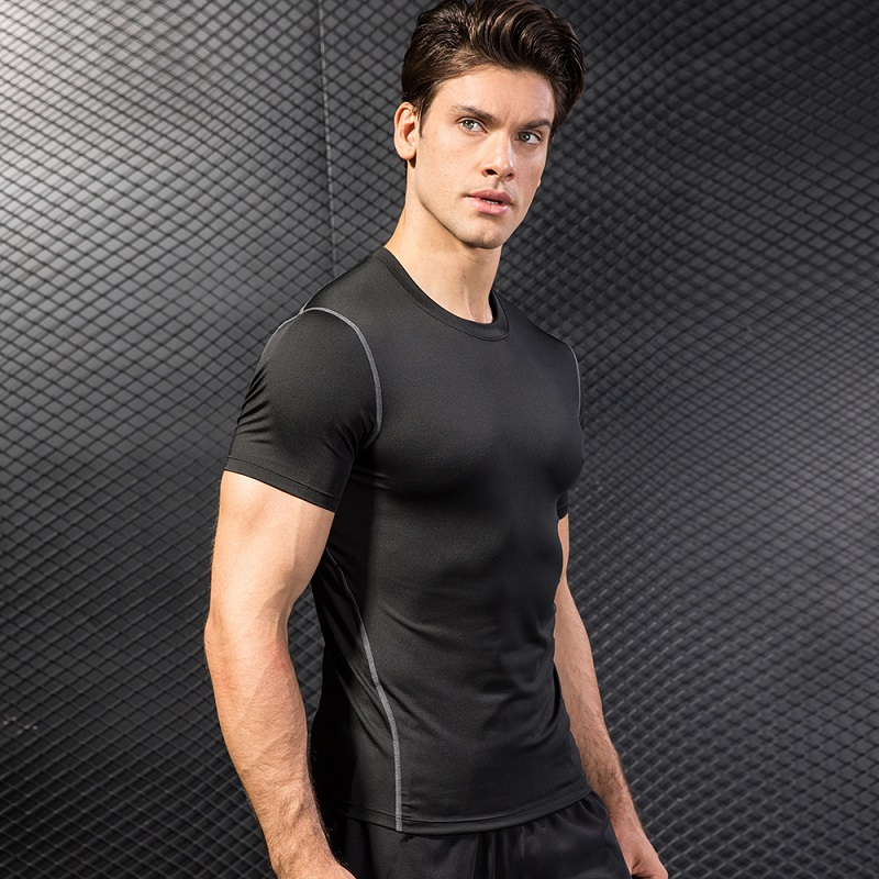 Brand Men 39 s Fitness T shirts Quick Dry Compression Short Sleeve T Shirt Sport Tennis Soccer Jersey Gym Slim Stretch Top Clothing in Running T Shirts from Sports amp Entertainment