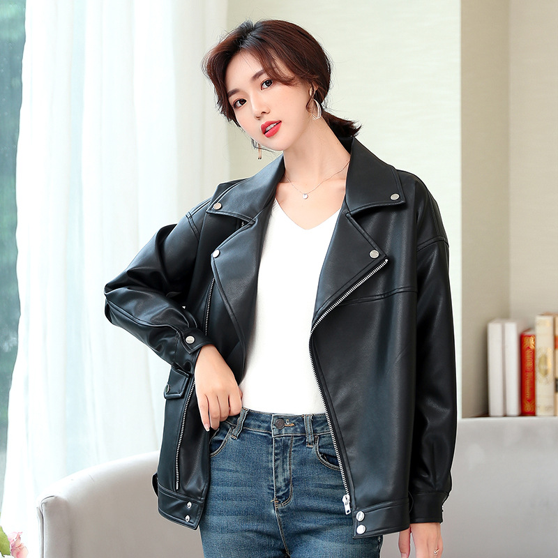 Leather   Jacket Women Coat Female 2019 Spring New High Quality Loose Bf Style Show Slim Motorcycle   Leather   Jackets M L XL