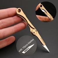 Latão mini faca dobrável faca utilitário desmontar express faca edc ferramentas ao ar livre